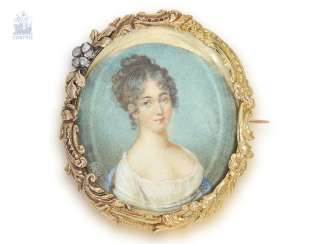 Brooch/needle: rare and very fine, antique brooch with ivory miniature, 19th century. Century