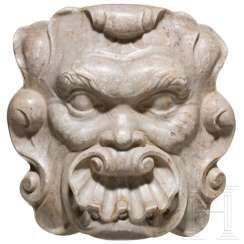 Baroque fountain mask made of marble, Spain, 17. Century
