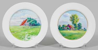Pair of Art Nouveau plates with landscape motifs