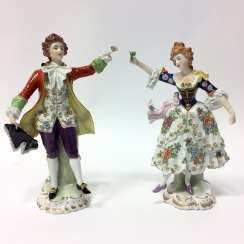 Figure group porcelain: Baroque style / a man and a woman in Baroque clothing, equipped fine, seat village/Thuringia, very nice.