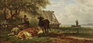 A shepherd with cattle on the lake shore
