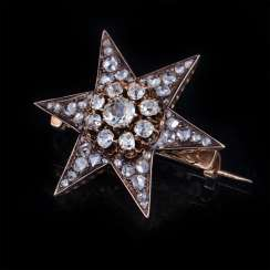 Brooch Star with diamonds and diamonds