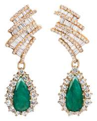 Pair of emerald drop earrings with diamonds
