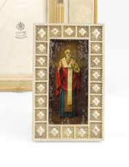A Fabergé Icon of St Nicholas in Silver Frame with Original Wooden Case