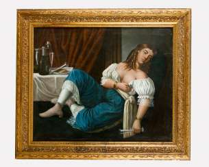 Artist around 1850, Drinking Lady, Oil canvas, framed