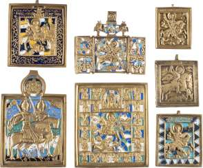 SIGNED ICON, TRIPTYCH AND FIVE BRONZE ICONS WITH TAB HOLY