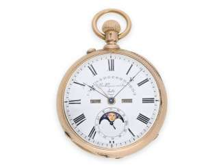 Pocket watch: technical rarity, early pocket watch with perpetual calendar, moon phase, moon age and retrograde date, Huguenin & Sons Locle No.15835, around 1875