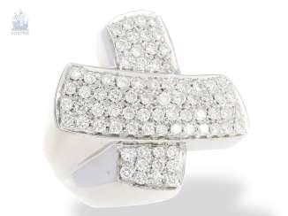 Ring: modern, very decorative, Brilliant gold wrought ring, approximately 1.5 ct, quality Italian crafted from 18K white gold