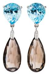Pair of blue Topaz earrings with smoke crystals