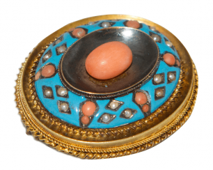 Brooch - pendant with coral pearl and enamel