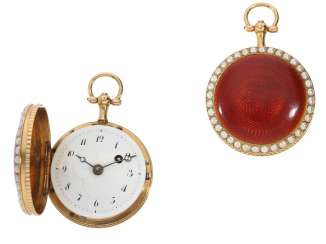 Pocket watch: beautiful Gold/enamel Spindeluhr with double pearl trim, probably France around 1800