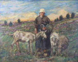 Willi Hans Burger-Willing (Cologne, 1882 - under maubach 1969, studied at the Düsseldorf Academy of art) shepherdess with goats