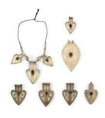 Group of six heart-shaped pendants and chain with pendants made of silver, stone trimmings
