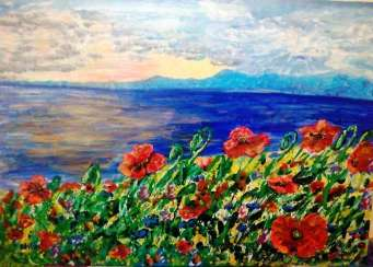 Red poppies and the sea