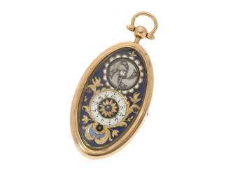 Anhängeuhr: oval miniature Gold/enamel Halsuhr with diamond-set balance, attributed to Piguet & Capt à Geneve, CA. 1810