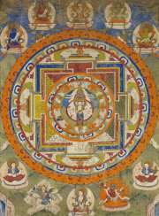Thangka of the eleven-headed Avalokiteshvara in a mandala