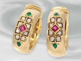 Earrings: high quality Hoop earrings with diamonds, rubies and emeralds, 18K Gold