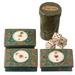 Three card game boxes and a paper cup with cardboard dice, Western Europe, 18th century