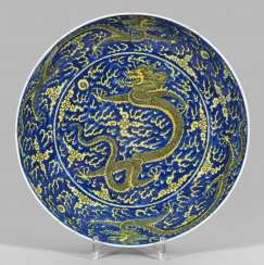 Large bowl with Imperial yellow dragon