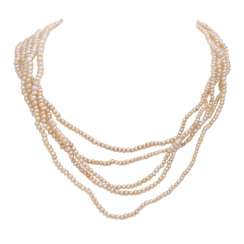 5-row natural pearl necklace with a diamond-studded clasp