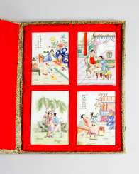 Four erotic Chinese porcelain plaques, coloured painted scenes partly with black script signs, on white ground, glazed