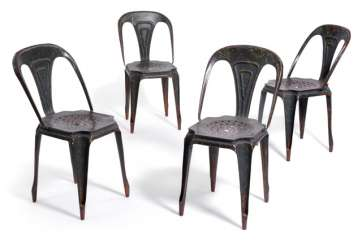 Set of four iron chairs