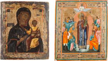 TWO ICONS: MOTHER OF GOD OF SMOLENSK MOTHER OF GOD 'JOY OF ALL WHO SORROW'