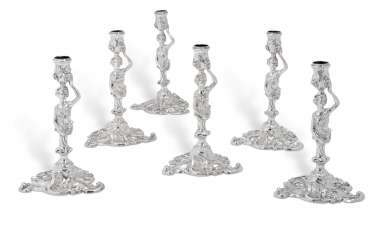 SIX GEORGE II SILVER CANDLESTICKS
