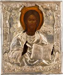 ICON WITH CHRIST PANTOKRATOR WITH SILVER OKLAD Russia