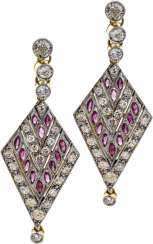 Drop earrings with diamonds and rubies