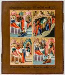 Rare four-box icon with the motifs of birth of the mother of God, Nativity of Christ, birth of St. Johannes d. T. and the birth of St. Nicholas