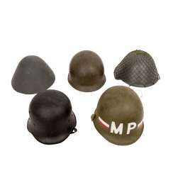 Lot of 5, among other things, steel helmets,