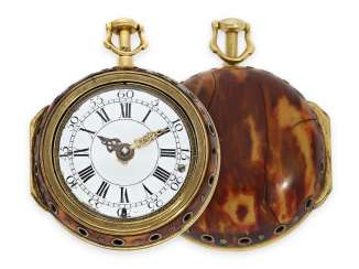 Pocket watch: early English double case-Spindeluhr with the repeater, 18K Gold, master watchmaker John Bushman Augsburg/London 1692-1725, No. 5430, CA. 1720
