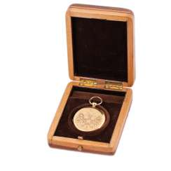 Gold 3-cover pocket watch with engraved double-headed eagle in the box