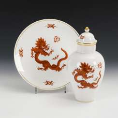 Lid vase and plate with dragon painting