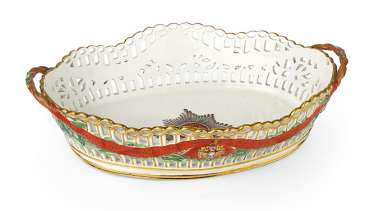 A Large Porcelain Basket from the Imperial Order of St Alexander Nevsky Service