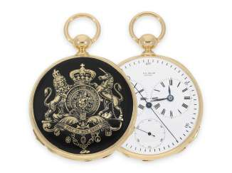 Pocket watch: a unique, early Gold/enamel pocket watch with Seconde Morte, and 2 time zones, Jacot Locle No. 14932, CA. 1850