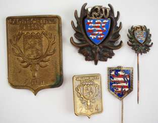 Hesse: Lot of 5 badges of the country-hunting-Association / hunting protection.