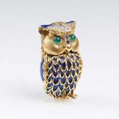 Miniature gold box 'owl' with precious stones and blue enamel decor