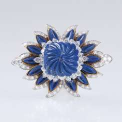 High profile, excellent Vintage lapis lazuli and diamond brooch