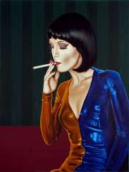 A girl with a cigarette.
