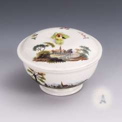Sugar bowl with landscape painting