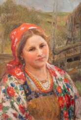 FEDOT WASILIEWITSCH SYTSCHKOW 1870 Kotschelaewo/ in Penza - 1958 Saransk Young woman in Russian costume