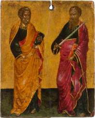 A SMALL ICON WITH THE APOSTLES PETER AND PAUL