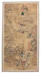 Large painting with the depiction of two scenes from Buddhist legend about Guanyin