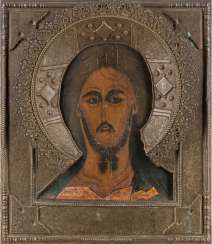 ICON WITH CHRIST 'GRIM EYE' WITH RIZA Russia