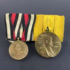 Order-clasp German Empire: War commemorative medal for combatants 1870/1871 and the Kaiser Wilhelm I commemorative medal 1897.