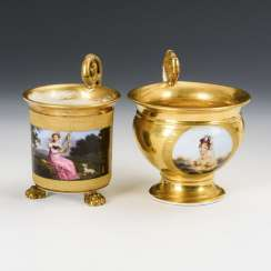 2 showcase cups with portraits of women