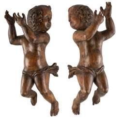 TWO FLOATING PUTTI