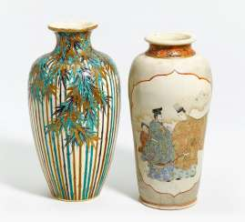 Two Satsuma vases, one with bamboo, one with Genji motif